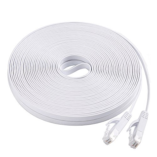 Cat6 Flat Ethernet Cable, 50 FT Computer LAN Internet Network Cable, Patch Cord with Clips w/Snagless Rj45 Connectors for PS4, Xbox one, Switch, IP Cameras, Modem, Printers, Router White (15 Meters) by DEEGO