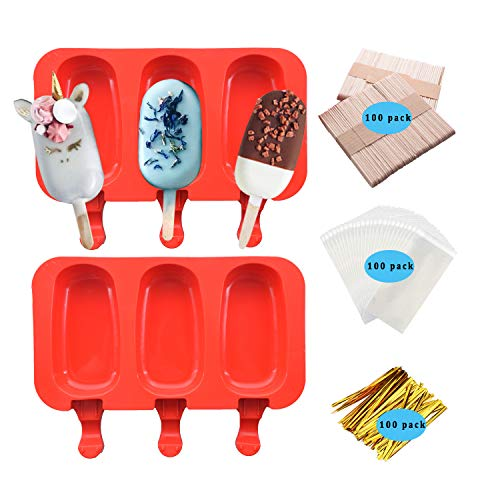 2Pack Popsicle Silicone Molds with Lid Ice Cream Bar Pop Maker BPA Free 3 Cavities with 100 Wooden Sticks (Red Style1)