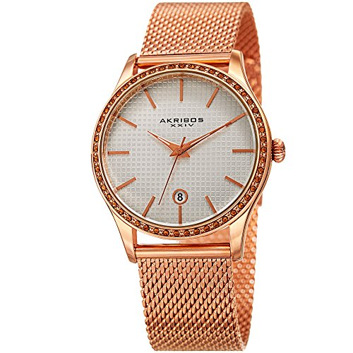 Akribos XXIV Women's Swiss Quartz Stainless Steel Casual Watch, Color:Rose Gold-Toned (Model: AK967RG)