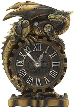 Ebros Chronos Resting Steampunk Cyborg Dragon Table Clock Statue 8.25 Tall Mythical Fantasy Painted Mechanical Clockwork Gears of Destiny Dragon Collectible Desktop Clock