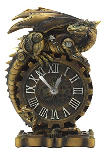 (Ebros Chronos Resting Steampunk Cyborg Dragon Table Clock Statue 8.25