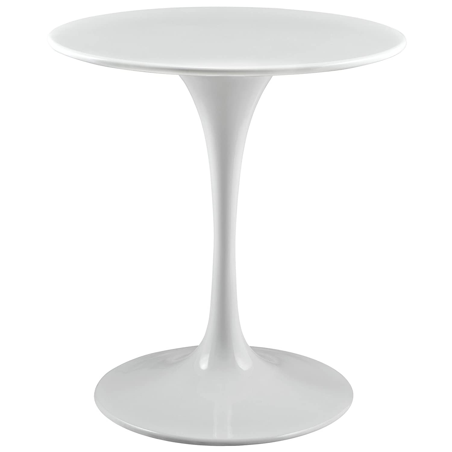 """Modway Lippa 28"""" Wood Top Dining Table in White"""