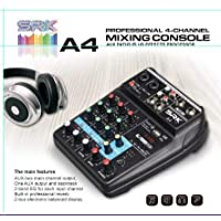 SRK A4 Sound Mixing Console Bluetooth USB Record Computer Playback 48V Phantom Power Delay Repeat Effects 4 Channels USB Audio Mixer for singing, karaoke, youtube