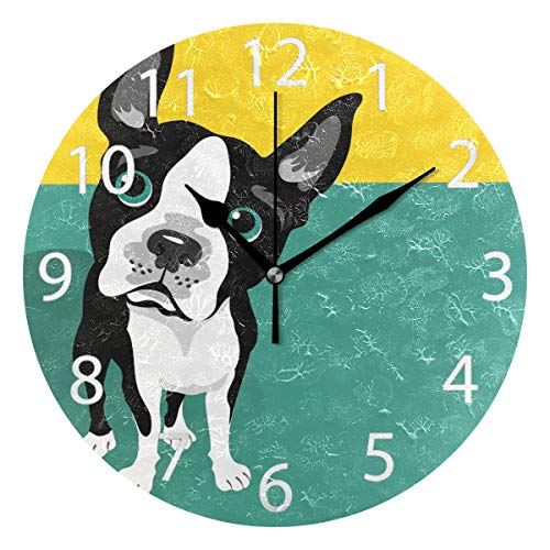 senya Cute Boston Terrier Dog Round Wall Clock, Silent Non Ticking Oil Painting Decorative for Home Office School Clock Art