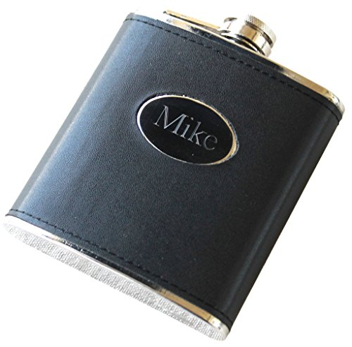 Personalized Black Flask - Groomsmen Gift, Bachelor Party Hip Spirit Flask - Custom Engraved Monogrammed for Free