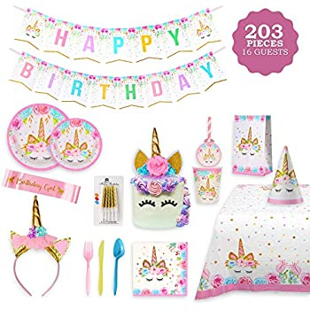 Unicorn Party Supplies Set//184pcs Decorations Serves 16//Magical Birthday Set