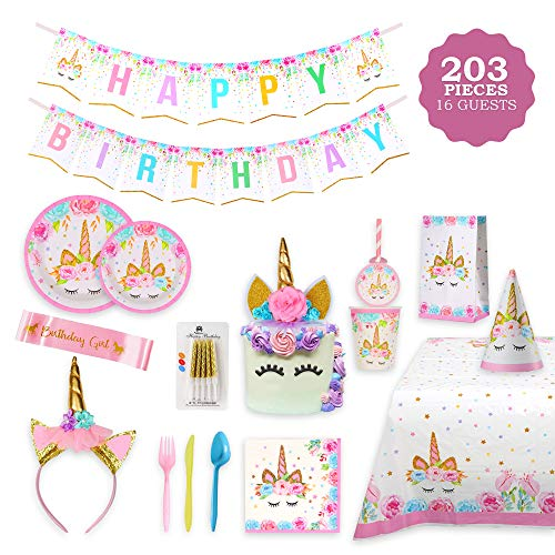 Girl Birthday Supplies (Unicorn Party Supplies Set & Tableware Kit,Serves 16 - Perfect for Girls Birthday Party Decorations- Includes Plates,Napkins,Cups,Starws,Utensils & 8 BONUS)