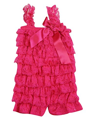 PoshPeanut Hot Fashion Toddlers Children Girls Ruffle Lace Rompers Shorts M / (Hot Pink Ruffle)
