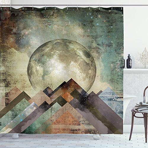 """Ambesonne Moon Shower Curtain, Composition with Heavenly Bodies and Angled Stripes with Grunge Effect Retro Look, Cloth Fabric Bathroom Decor Set with Hooks, 75"""" Long, Teal Beige"""