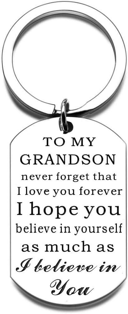 Grandson Gift Keychain from Grandma Grandpa Never Forget That I Love You Forever for Teen Boys Kids Teenage- Inspirational Birthday Christmas Graduation Stocking Stuffer Jewelry Present