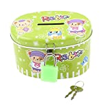 uxcell® Metal Shell Bear Pattern Money Coin Saving Piggy Bank Box Green w Lock