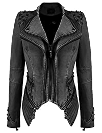 Chouyatou Women's Fashion Studded Perfectly Shaping Faux Leather Biker Jacket