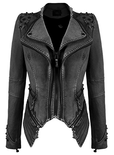 chouyatou Women's Fashion Studded Perfectly Shaping Faux Leather Biker Jacket (Small, Denim-Grey) (Leather Studded Jeans)