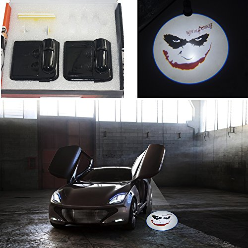 (Spoya Funny Jocker face Why so serious Wireless Magnetic Car door step LED welcome logo shadow ghost light laser projection projector light Powered by)