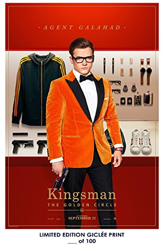 Rare Poster thick taron egerton Kingsman: The Golden Circle movie 2017 Reprint #'d/100!