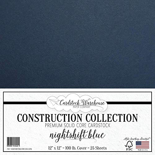NIGHTSHIFT Blue/Dark Blue Cardstock Paper - 12 x 12 inch Premium 100 LB. Cover from - 25 Sheets from Cardstock Warehouse