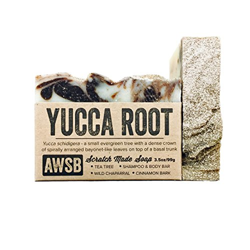 Yucca Root Natural & Organic Vegan Shampoo & Body Bar Soap with Tea Tree Oil, Handmade by A Wild Soap Bar