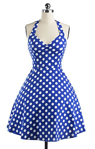 DATO de del Rockabilly 50s Azul la Delgado Retro Tutú Vestido Hepburn Lunares Grande Falda rqrx1wvp