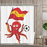 Funny Octopus Shower curtains sets bathroom Soccer Player Spain Flag European Football Barcelona Madrid Valencia Sports Lover Clip Accent for Male Satin Fabric sets bathroom 72''x72'' Red Yellow White