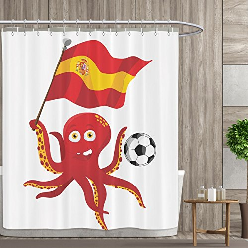 Funny Octopus Shower Curtains Waterproof Soccer Player Spain Flag European Football Barcelona Madrid Valencia Sports Lover Clip Accent for Male Fabric Bathroom Decor Set with Hooks 72''x84'' Red Yellow by PriceTextile