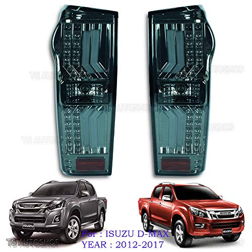 Powerwarauto Rear Black Smoke Lens Tail Lamp Light Taillamp LED for Isuzu Holden D-Max Dmax 4WD 2WD 4x4 4x2 UTE Truck 2012 2013 2014 2015 2016 2017 2018