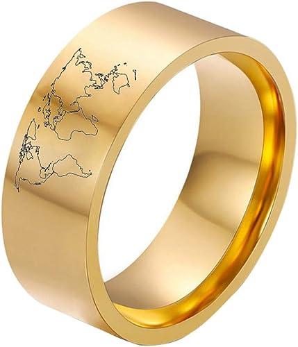Top Anillo Acero Inoxidable Esmerilado Cool Oro Joyería para Mujer Hombre Nuevo