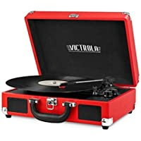 Innovative Technology Victrola ITVS550Red Vintage Suitcase 3 Speed Turntable Red