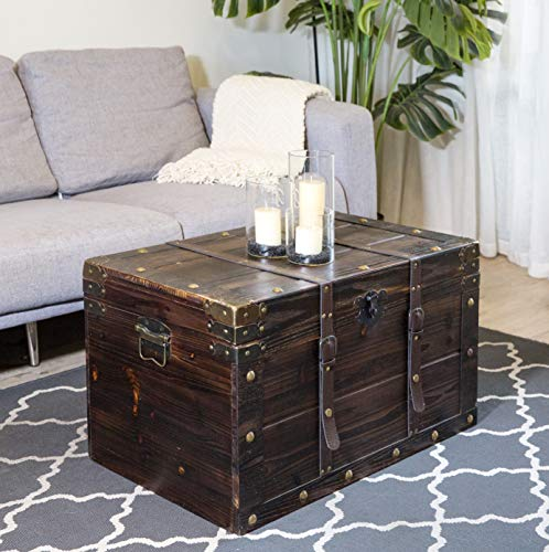 Soul & Lane Oxford Decorative Wooden Storage Coffee Table Trunk (Set of 2) | Suitcase Shaped Chest Trunk Styled for Vintage Antique Décor (Table Decorative Boxes Coffee)