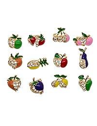Homyl 12 Pieces Women Resin Crystal Wedding Brooch Pin Collar Hijab Pins Bouquet Bridal Brooch Fashion Jewelry