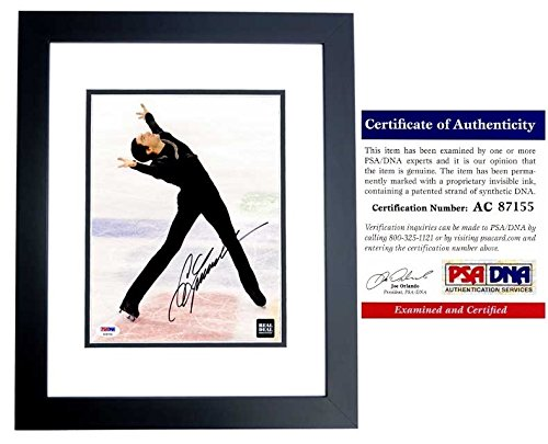(Evan Lysacek Signed - Autographed Figure Skating 8x10 inch Photo - BLACK CUSTOM FRAME - PSA/DNA Certificate of Authenticity (COA) - Gold Medal Winner/Dancing with the Stars )