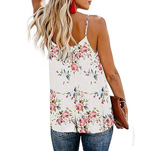 WYTong Women's V Neck Strappy Tank Tops Loose Casual Sleeveless Shirts Blouses Button Sling Print Sleeveless Shirt Vest(White,L) -