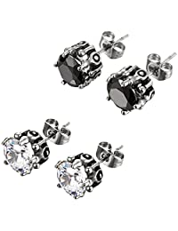 4 PCS Oidea Stainless Steel Mens Womens Cubic Zirconia Embed Dragon Claw Earring Studs,Hypoallergenic