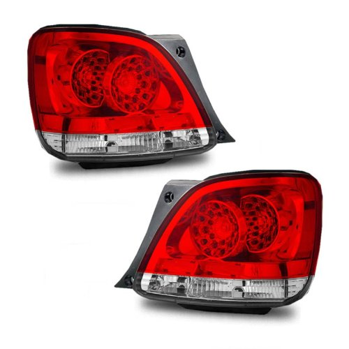 SPPC L.E.D Taillights Red/Clear Assembly Set Lexus GS300/400/430 - (Pair) Driver Left Passenger Right Side ()