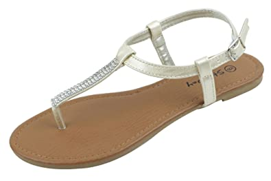 SBG Womens Slingback Buckle T-Strap Rhinestone Flat Thong Flip-Flop Shoes Sandals Gold