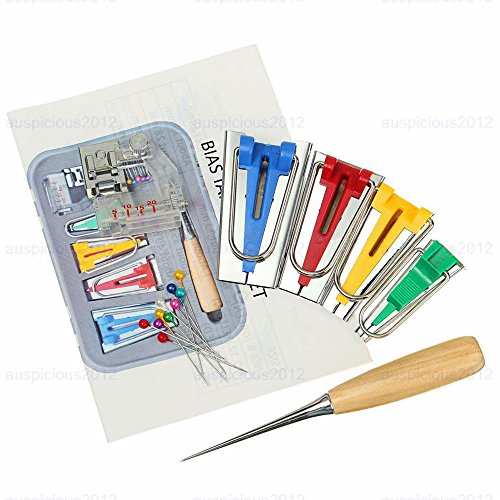 U-Power Single/Double Fold Bias Tape Maker Tool Kit Set, 1/4 to 1 Inch Sewing Bias Tape Makers+ Bias Binding Foot+ Sewing Awl Tool+ Straight Pins for Quilt Binding