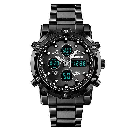 Bounabay Men's 3 Time Stainless Steel Band Watch Analog Digital LED Watch with Date Week Alarm-Black