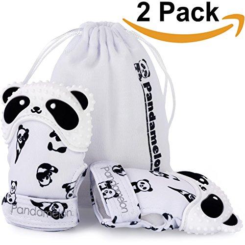 Teething Mittens for Baby, Mitten Teether Toy, Infant Teething Mitt Set, Cute Panda Teether, Pack of 2 ()