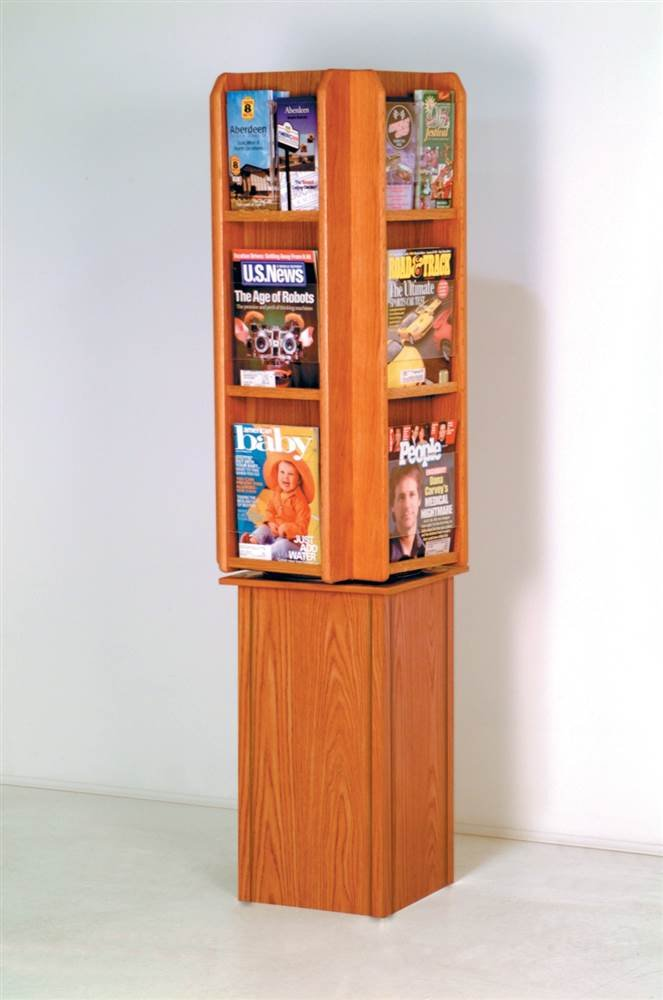 Wooden Mallet LM24-FSLO Divulge Spinning Floor Display with 12 Magazine/24 Brochure Pockets, Light Oak