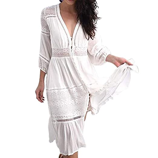 4d65ac64bf3e64 Limsea Women Mini Dress 2019 Cropped Sleeve Openwork Dress Beach Loose Lace-up  Sleeve Ankle-Length at Amazon Women's Clothing store: