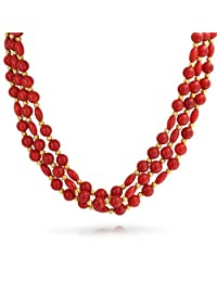 Bling Jewelry Synthetic Coral Gold Plated Three Strand Necklace