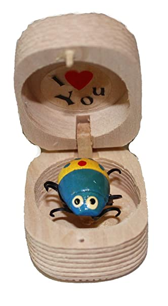 Amazon.com : Little Wooden Nut Shaped Box with I Love You and Lady ...