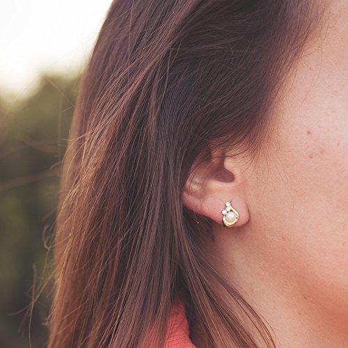 f10de4ab9782 Conjunto juego niña oro amarillo 18 ktes 1ª Comunión anillo y pendientes  perlas y circonitas Caliente