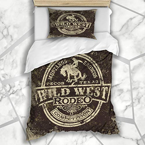 Horse Country Design - Ahawoso Duvet Cover Sets Twin 68X86 Cowboy Wild West Rodeo Vintage Style Sports Recreation Western Texas Horse Country Design Microfiber Bedding with 1 Pillow Shams