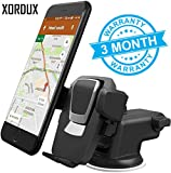 XORDUX Adjustable Mobile Stand for Car Dashboard and Windshield with Quick One Touch Technology (Black)