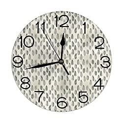 GULTMEE Silent Wall Clock Non Ticking 10 inch Quartz Round Decorative, Exotic Coconut Palm Tree Leaf Organic Botany Nature Jungle Vacation Motif