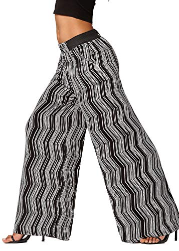 (Conceited Women's High Waisted Wide Leg Printed Palazzo Pants with Pockets - Light Speed - One Size - LG237X189)