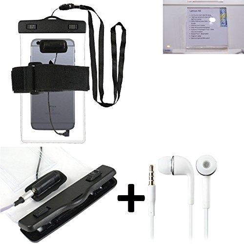 Estuche estanco al agua con entrada de auriculares para Lenovo K6 + auricular incluido, transparente | Trotar bolsa de playa al aire libre caja brazalete del teléfono caso de cáscara bajo playa - K-S_