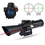 UUQ Tactical 3.5-10X40 Illuminated Red/Green Mil Dot Rifle Scope W/Red Laser Sight Fit 11/20mm Picatinny Rail (12 Month Warranty)