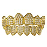 NIV'S BLING - 18k Yellow Gold-Plated Cubic Zirconia Cluster Fanged Grillz Set