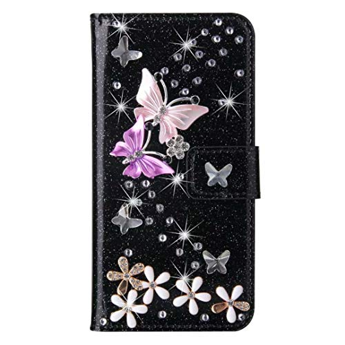 - Women/Girls Butterfly Flower Rhinestone Glitter Leather Case with Card Holder Kickstand Wallet Multifunction Protective Phone Case Cover for Samsung Galaxy S9 Plus,Black
